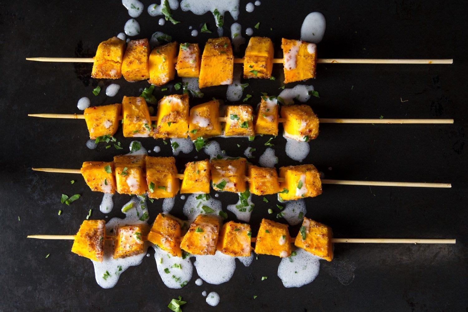 Curried Squash Kebabs