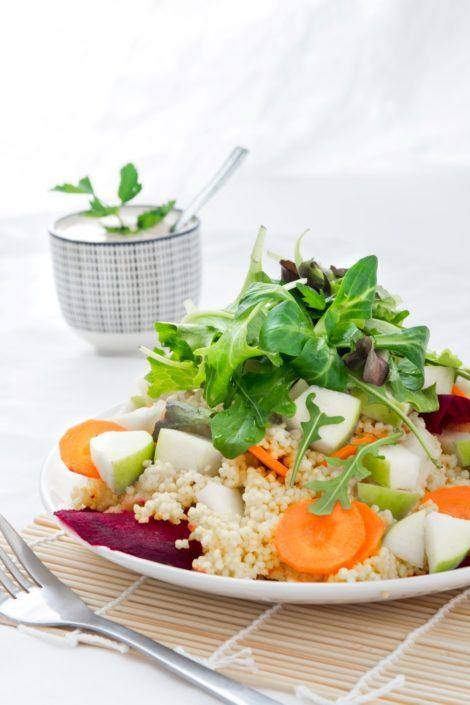 Millet and Carrot Salad with Creamy Almond Dressing