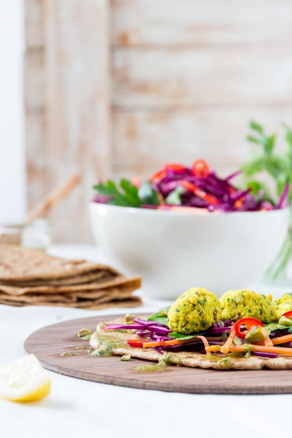 Use Your Noodles - Turmeric Falafel Wraps