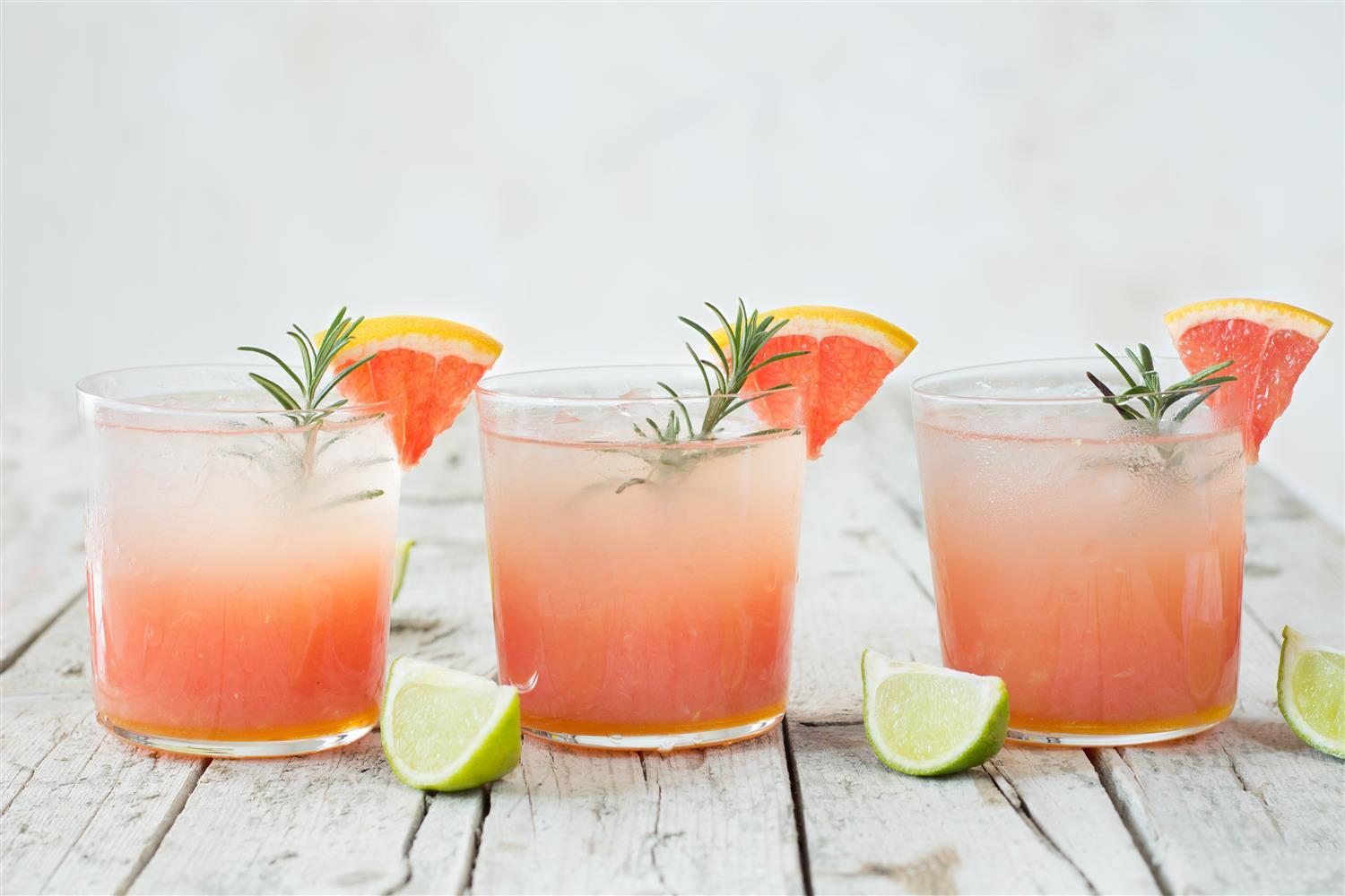Grapefruit-Lime Cocktail with Ginger and Rosemary