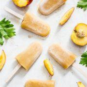 Refreshing fruity peach and celery ice lollies on sticks are always welcome at our house!