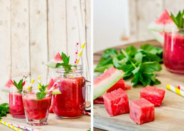 A simple, 2-ingredient refreshing watermelon slushie drink with mint.