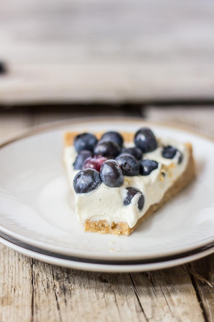 What better way to enjoy summer but with this melt in your mouth no-bake blueberry cheesecake with a cookie crust. Click to find the whole recipe or pin and save for later!