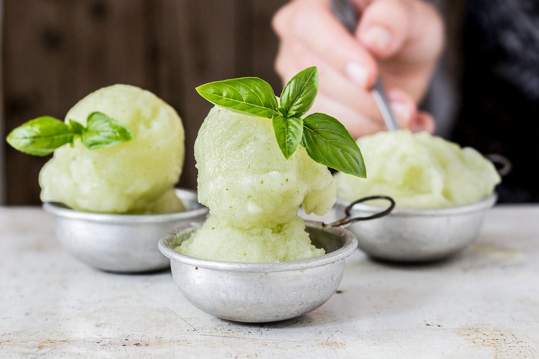 No-Churn Melon Sorbet with Basil - Use Your Noodles