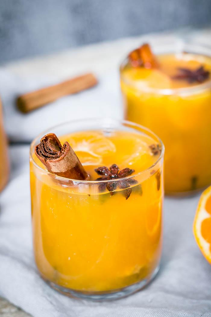 Easy to make from scratch warm autumn mulled mandarin juice!