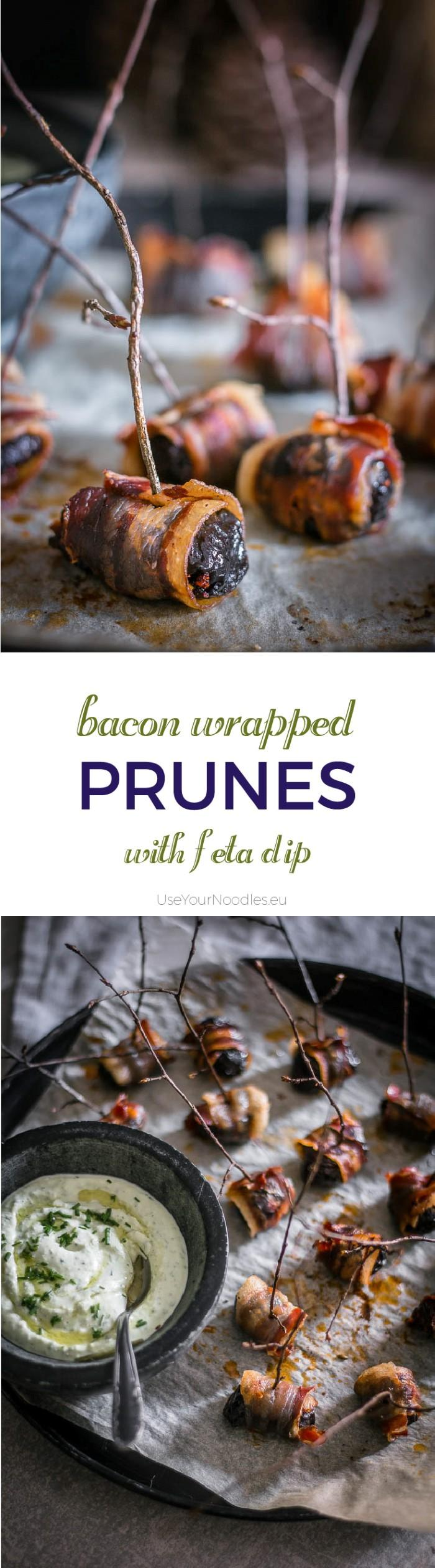 Indulgent finger food for the best party you'll ever throw, but not without these crispy bacon wrapped prunes and a decadent herbed feta dip! Click to find the whole recipe or pin and save for later!