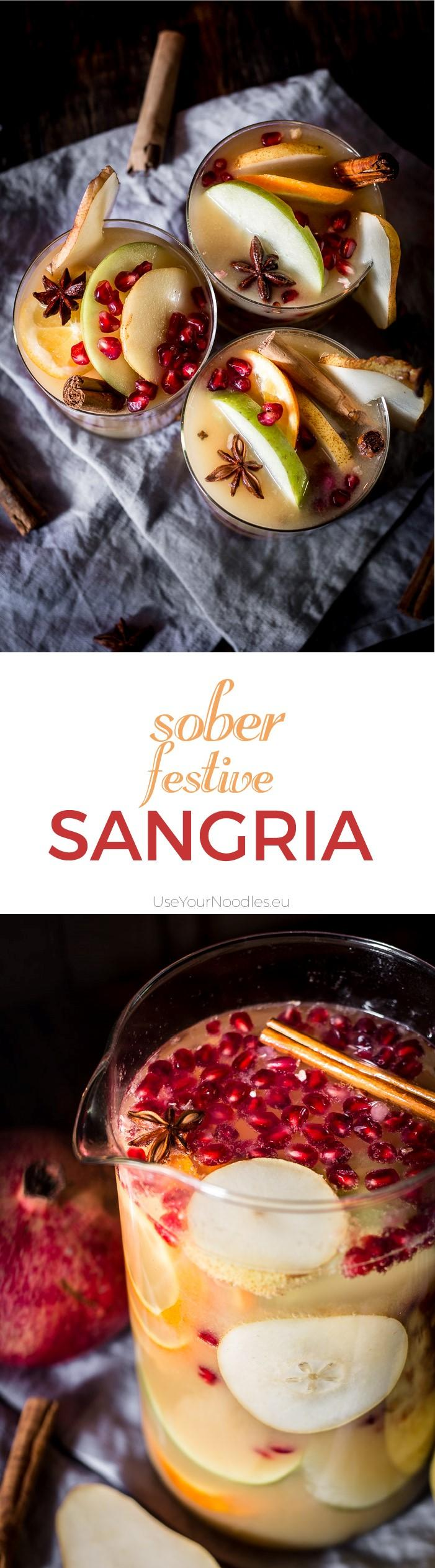 I love non-alcoholic festive sangria, especially when it tastes like winter with all its beautiful mixed fruits and Christmas spices. It's the easiest thing in the world to do and you can prepare it ahead of time. Click to find the whole recipe or pin and save for later!