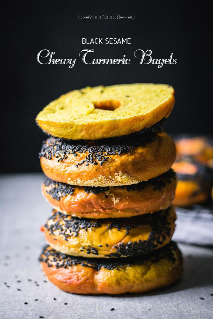 The softest low-fat black sesame covered chewy turmeric bagels that are ridiculously tasty and a great basis for a breakfast sandwich. Click to find the whole recipe or pin and save for later!