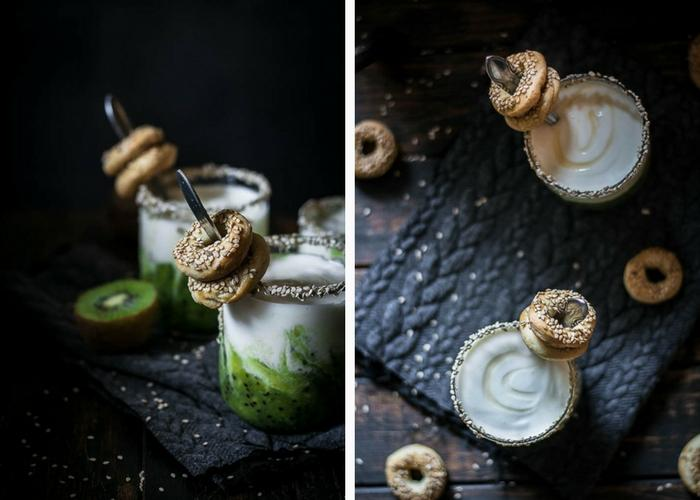This honey sweetened kiwi yogurt served with homemade mini simit grissini is probably the most delicious breakfast of this winter and it is inspired by some of the most popular foods in Turkey and some homegrown seasonal fruit!