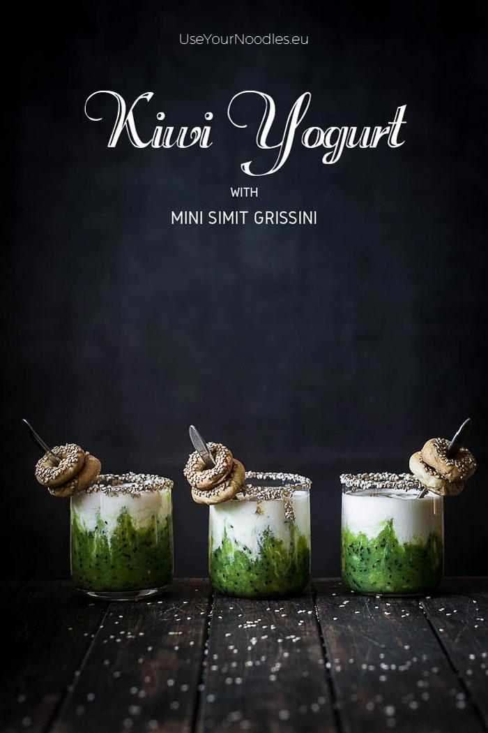 This honey sweetened kiwi yogurt served with homemade mini simit grissini is probably the most delicious breakfast of this winter and it is inspired by some of the most popular foods in Turkey and some homegrown seasonal fruit! Click to find the whole recipe or pin and save for later!