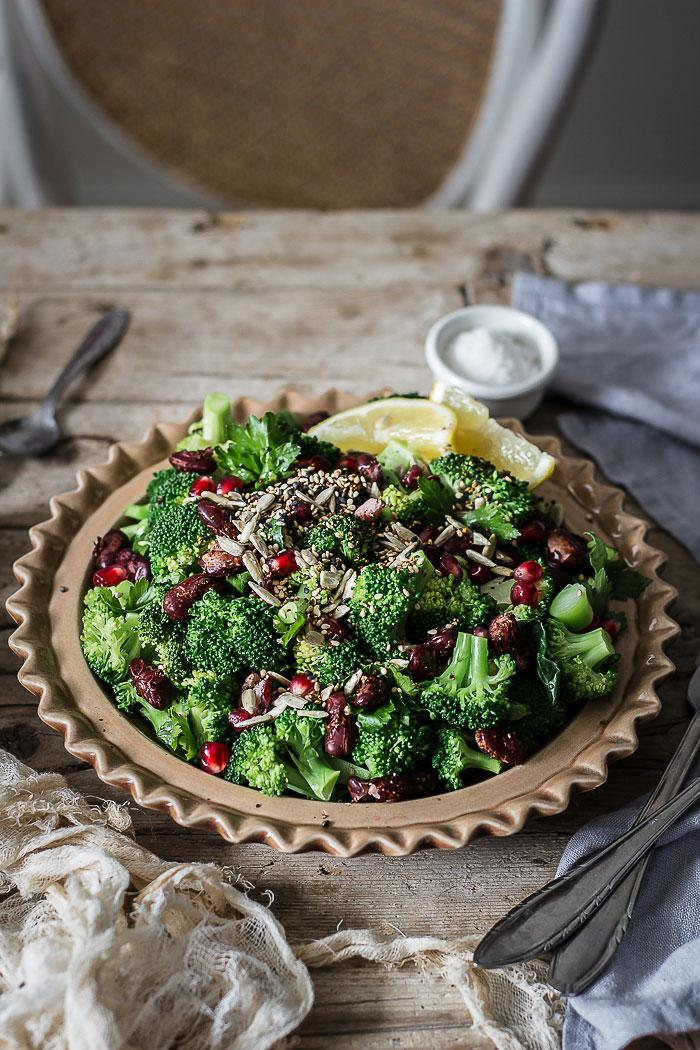 Whoever says comfort food can't be healthy, had obviously never tried popped beans and steamed broccoli salad with toasted spicy nuts and lemony mustard dressing. Hungry anyone?