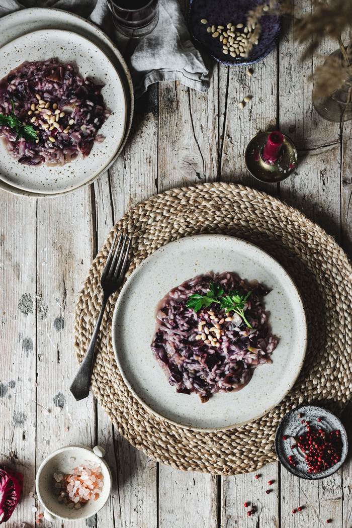 A creamy and smokey radicchio risotto with bacon is a cozy winter dish that everyone will love! A traidtional Italian recipe with a twist!
