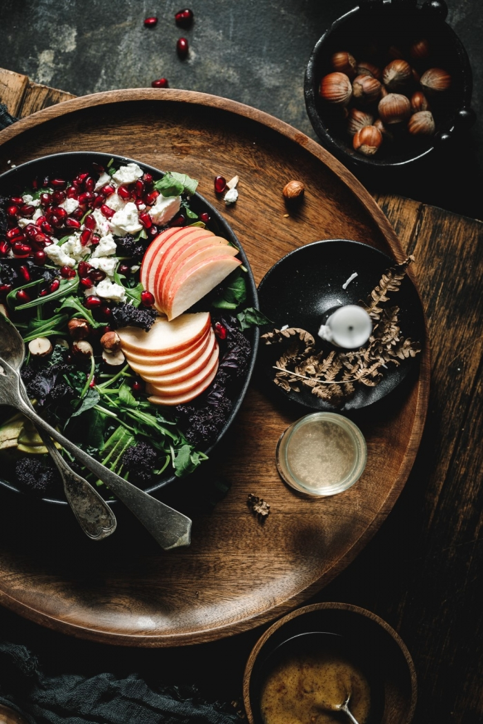 When it comes to winter salad recipes, nothing beats arugula and kale salad with avocado, apples, feta, hazelnuts and some delicious mustard dressing.