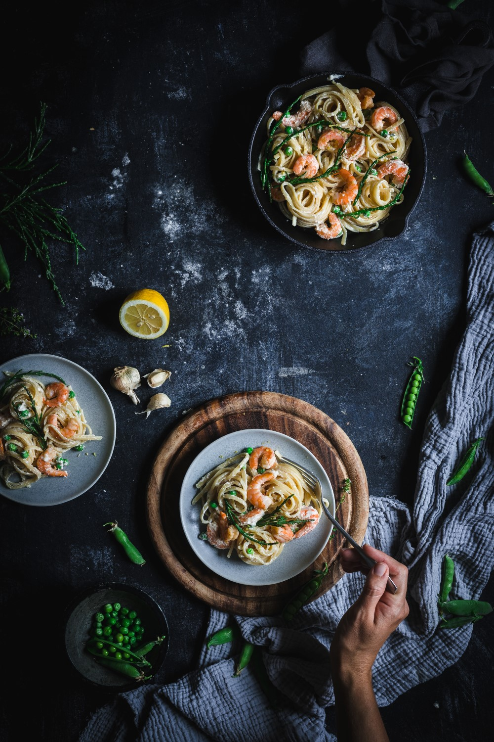 This quick and rich garlic ricotta shrimp pasta is incredibly creamy and luxurious and has a lovely sour and salty flavor from lemon and glasswort (sea asparagus).