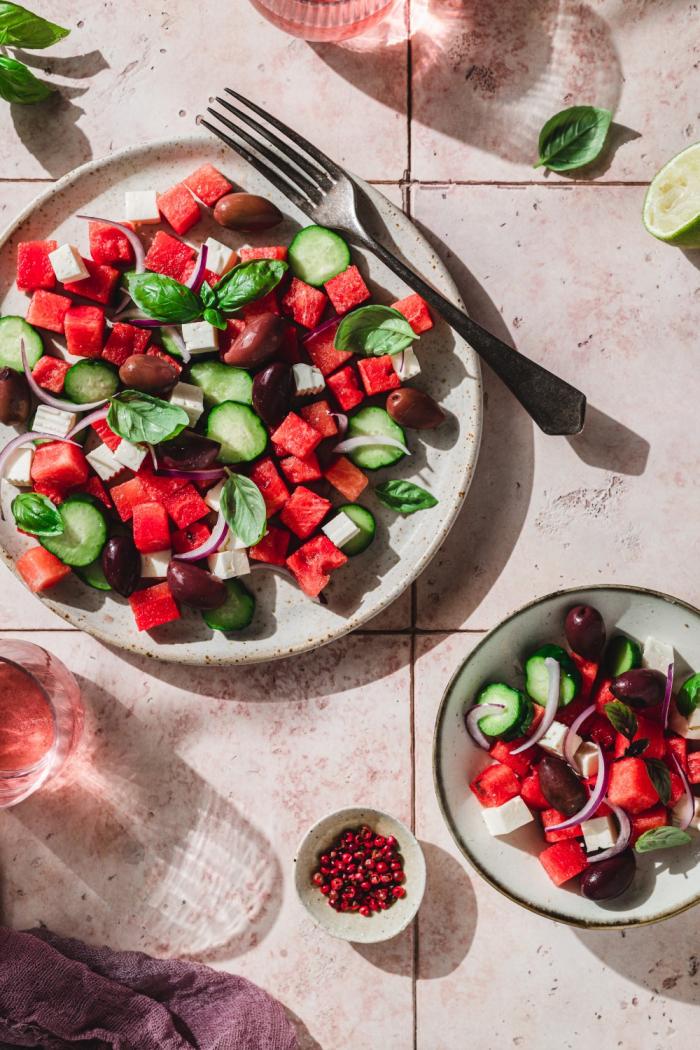 When it comes to refreshing salads nothing beats a refreshing watermelon salad inspired by Greek salad.