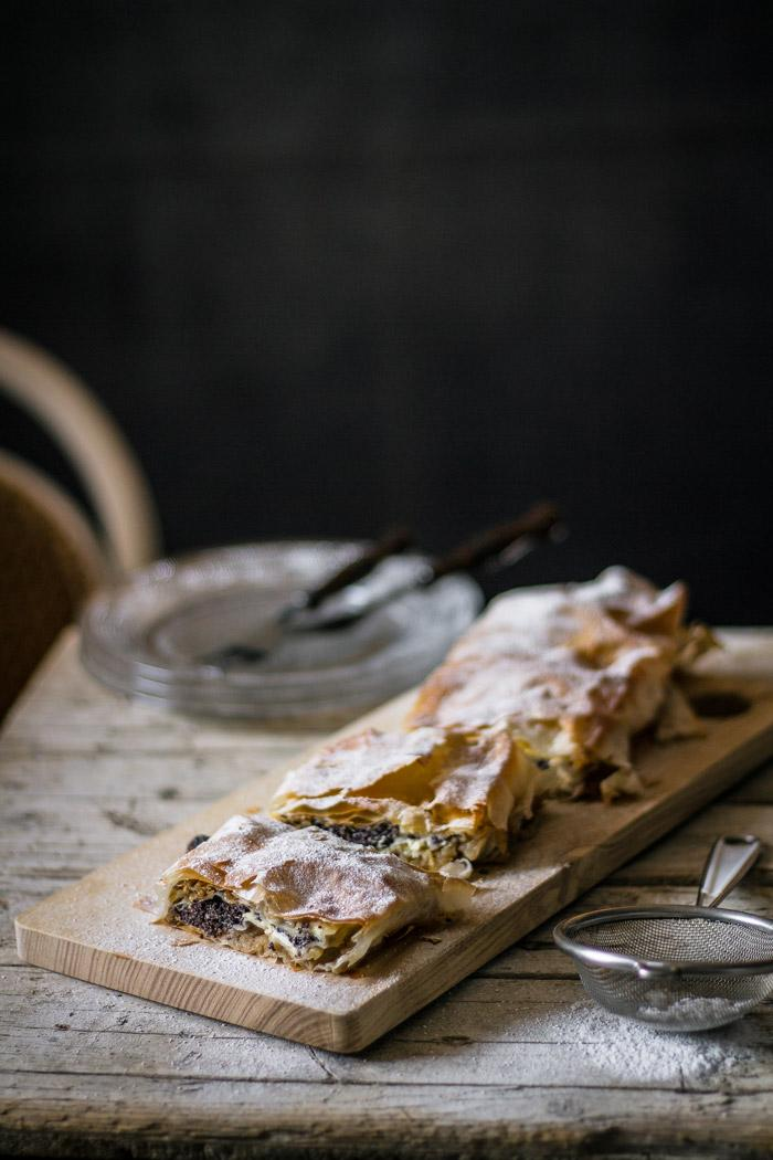 This apple and poppy seed strudel has four delicious mouth watering layers - poppy seed, curd, walnut and apple layer with sultanas. In many ways it is reminiscent of one of the best Slovenian dessert Prekmurska gibanica.