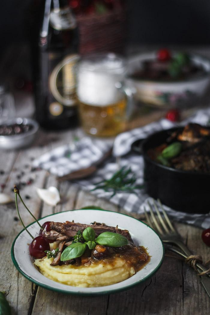 This cherry braised beef brisket is incredibly tender and comforting. When served with some creamy mashed potatoes it makes a perfect dish for the rainy spring days.