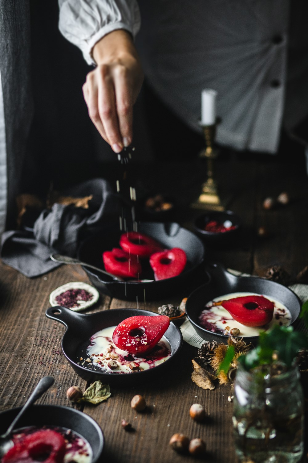 An easy but really fancy dessert like this hibiscus poached pears with vanilla and pink peppercorns is guaranteed to amaze at any party!