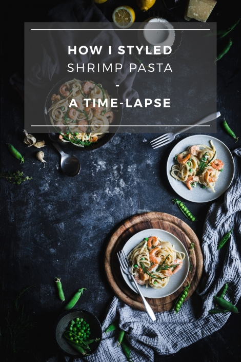Watch my food styling process of this shrimp pasta dish from start to finish in a time-lapse.