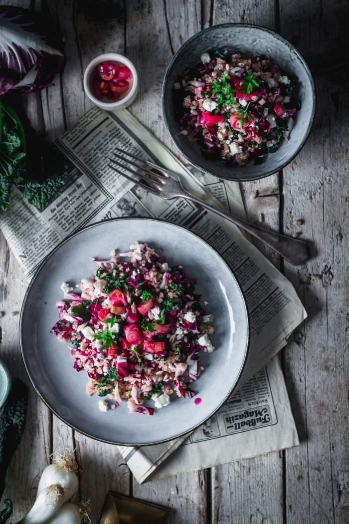 This healthy Kale and Radicchio Quinoa Salad is a Winter favorite at our house. With fresh kale and radicchio, quick spring onion pickles and feta cheese I'm sure it will be in yours too.
