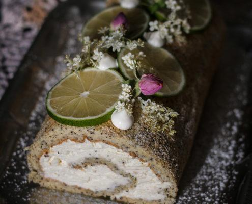 This poppy seed elderflower cake roll is a delicately light spring tea-time treat.