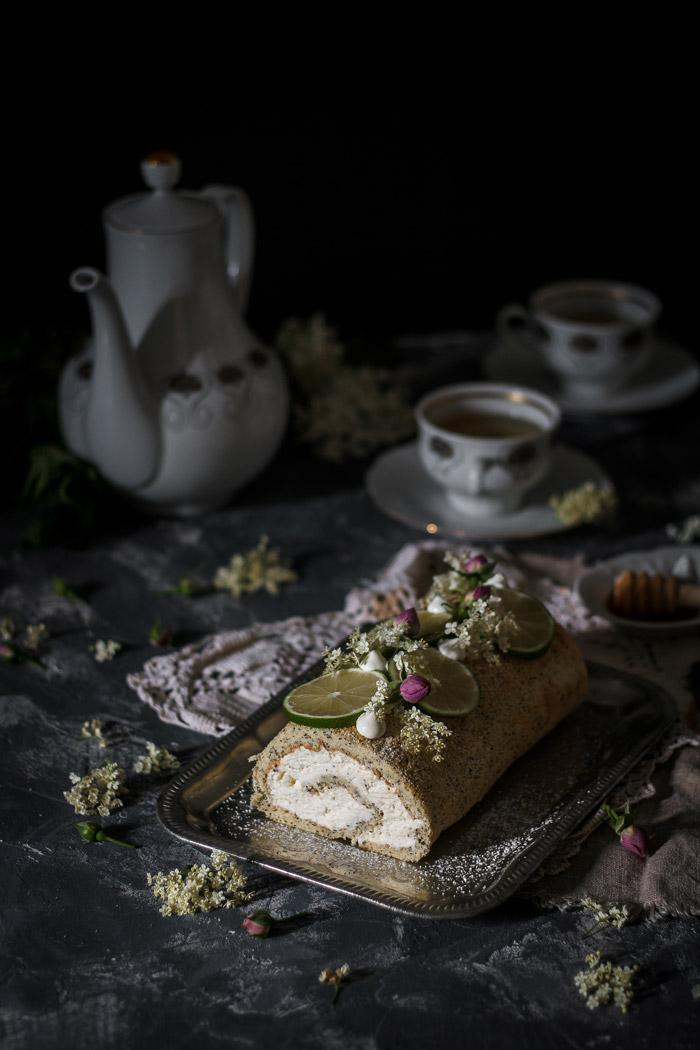 This poppy seed elderflower cake roll is a delicately light spring tea-time treat.