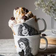 This creamy mocha frozen yogurt with mocha puffs and date caramel combines a perfect cup of coffee with some cocoa and dates in a form of frozen dessert. Breakfast or dessert, it's up to you! A little extra thing is the recipe for mocha cocoa puffs, which you can add to your morning cereal bowl.