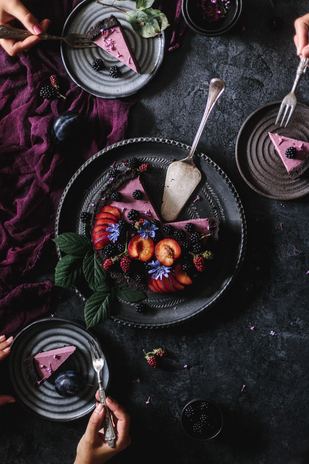No-bake Blackberry-Plum Pie (Two Ways)