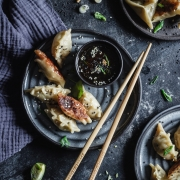 These delicious Brussels Sprout & Chicken Gyoza with a dipping sauce are so delicious, you won't be able to stop eating!