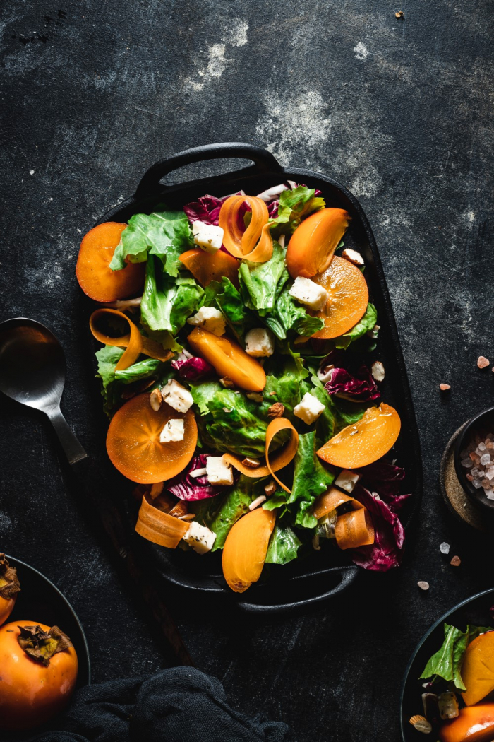 When it comes to fall salads this persimmon salad is a winner. With the smoothest dressing made with olive oil and fresh orange juice this is a perfect fall lunch.