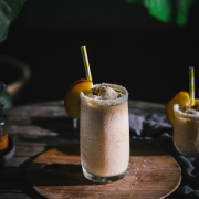 This roasted peach coconut slushie is so fresh, and easy! This icy blend of sweet peaches and coconut cream is perfect summer treat.