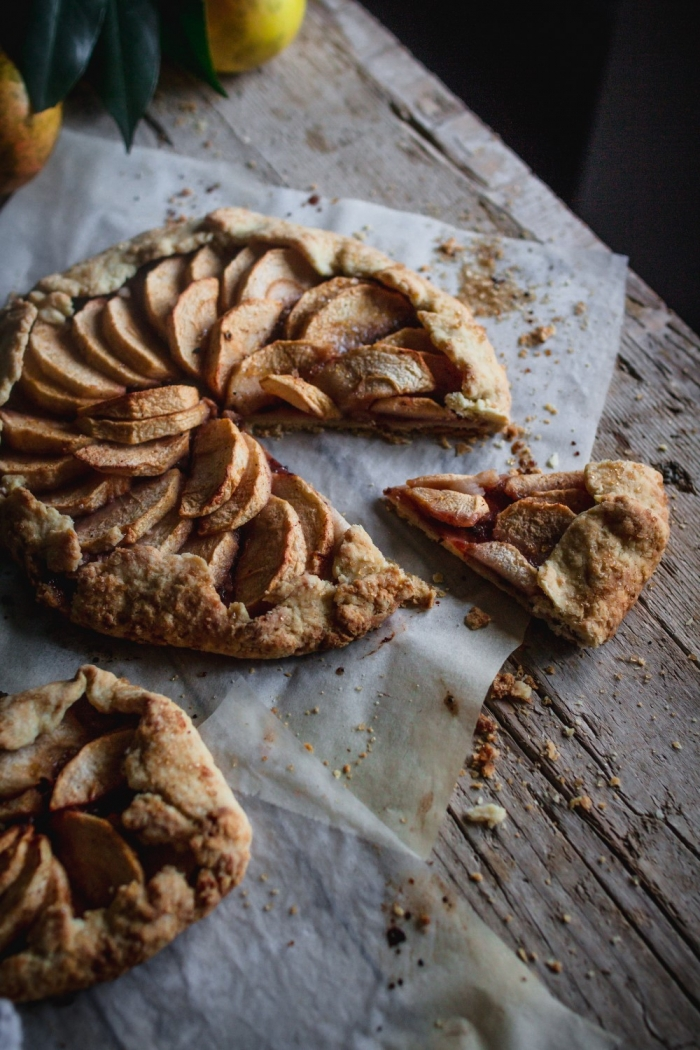 The reason why I love this delicious rustic apple galette is because of its delicate flaky crust and the fruity plum jam.