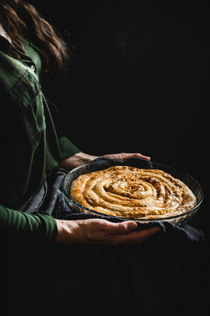 These delicious layers of crispy phyllo dough and soft fragrant sauerkraut flavor of this sauerkraut börek are a perfect side dish or a meal on its own.