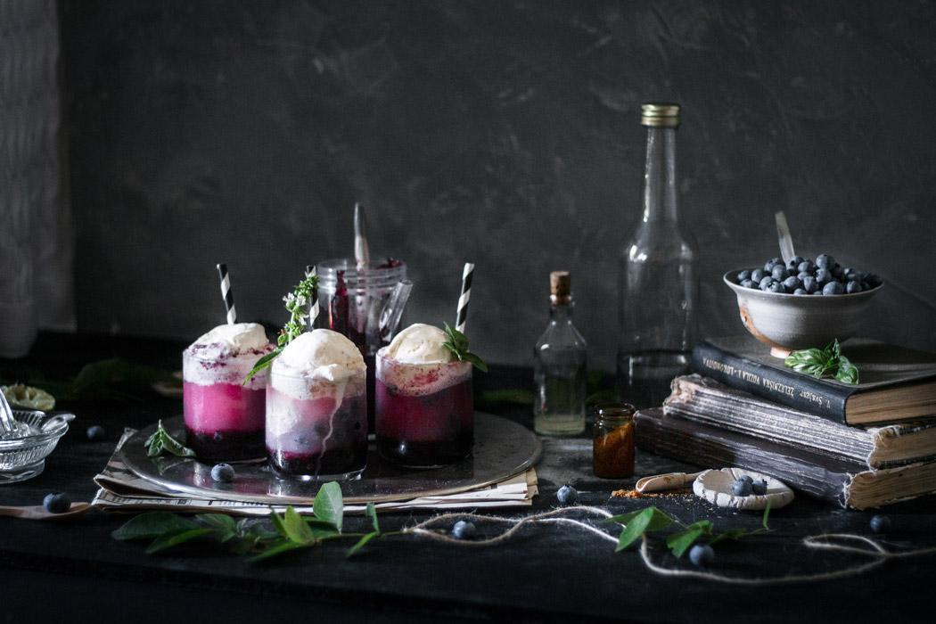 A perfectly refreshing and comforting non-alcoholic summer drink - sparkling basil and blueberry float.