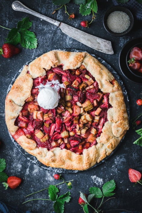 This simple and classic strawberry rhubarb galette with a twist will sure to be your new summer favorite!