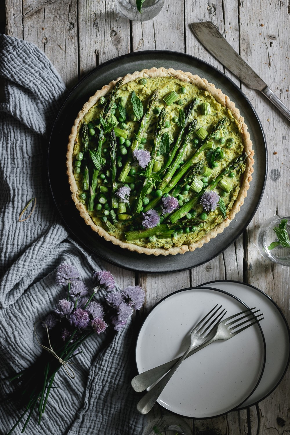 This simple vegan pea and asparagus quiche recipe is so easy to make and a great way to treat your guests!