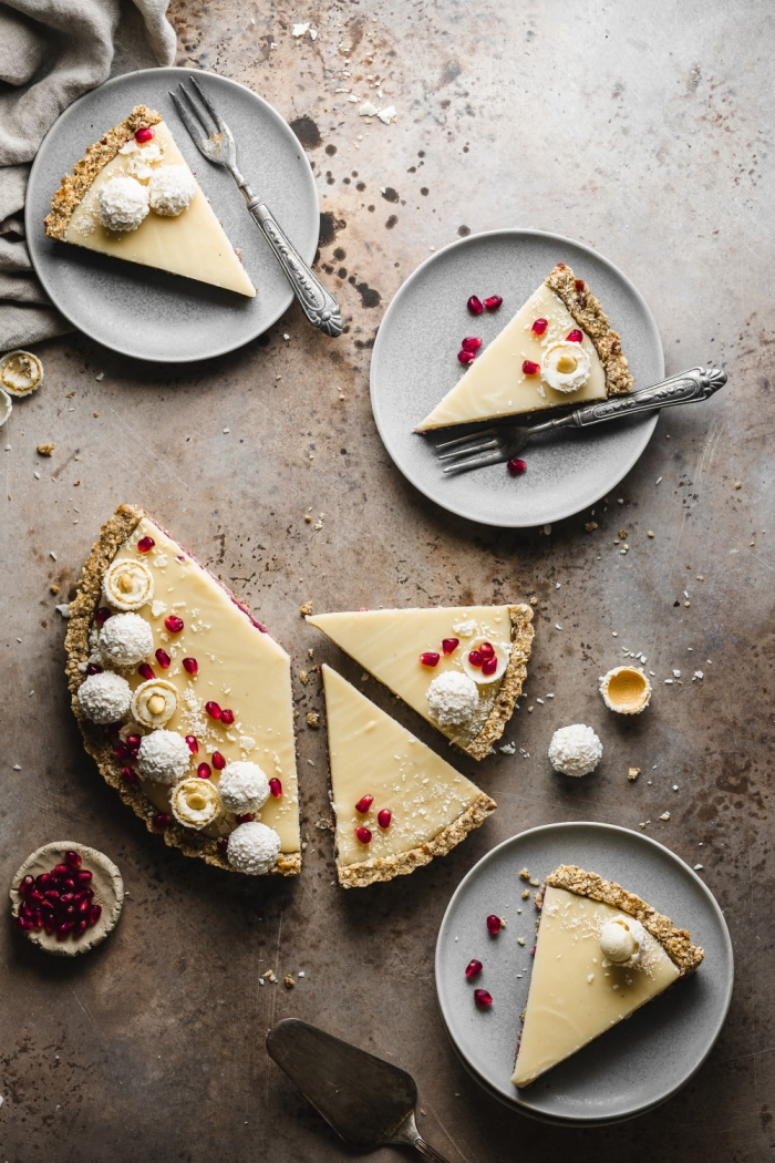 A simple and easy Valentine's day dessert - a rich pomegranate coconut pie that doesn't require any baking.