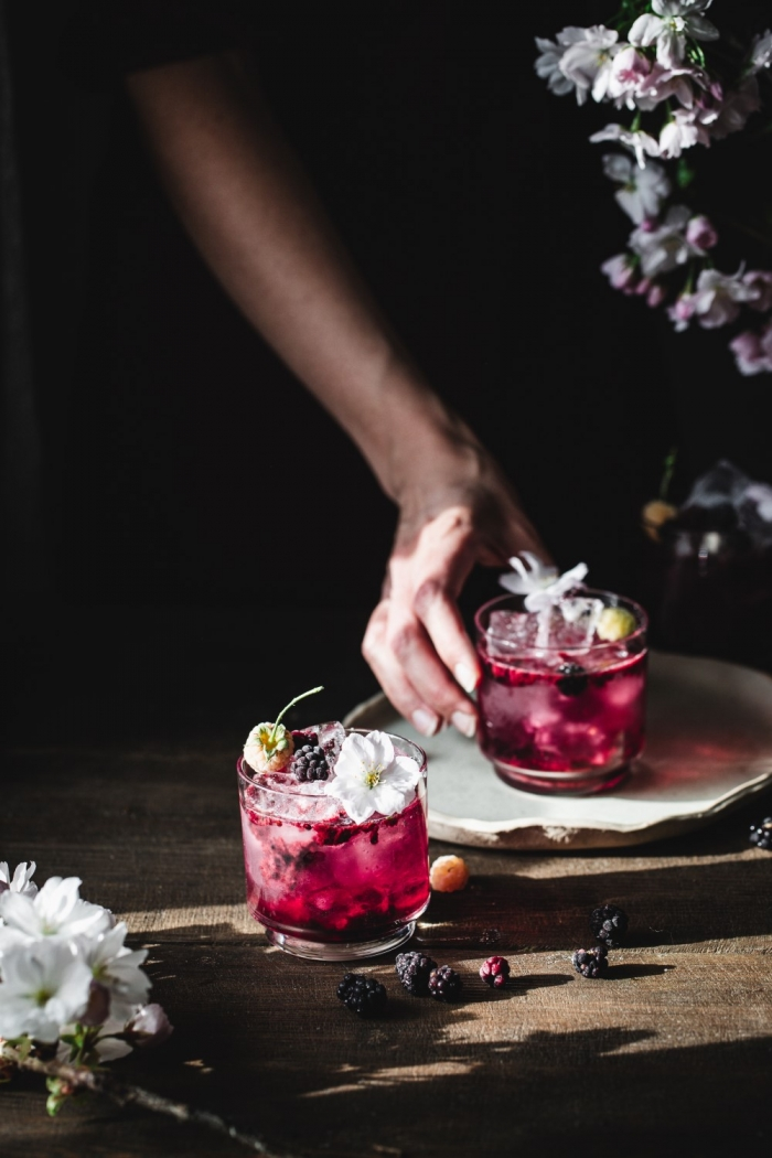 The best refreshing drink, featuring blackberries, lime and rosewater, is called virgin blackberry rosewater smash.