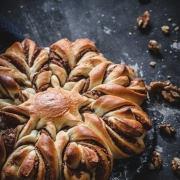 Walnut chocolate star bread is a eye-catching yet easy treat that will definitely make you look like a baking star!