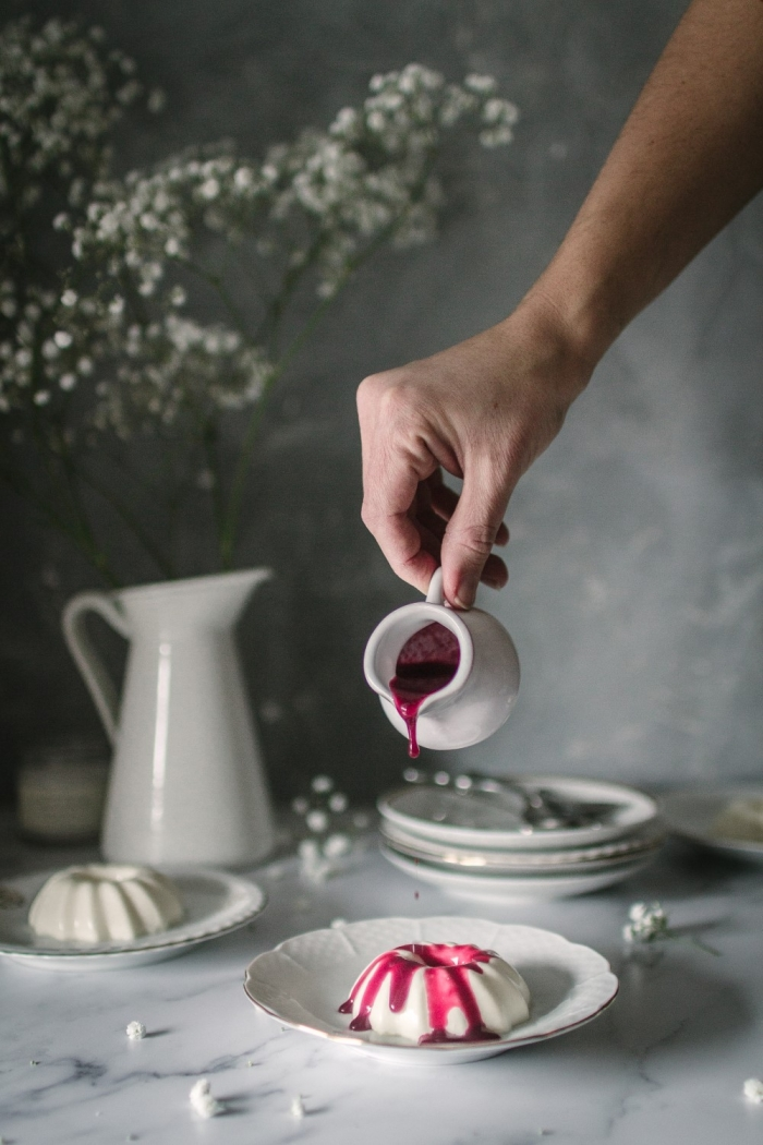 A smooth creamy white chocolate panna cotta is always a crowdpleaser especially with some hibiscus raspberry sauce on top. One of the easiest desserts that everyone will love.