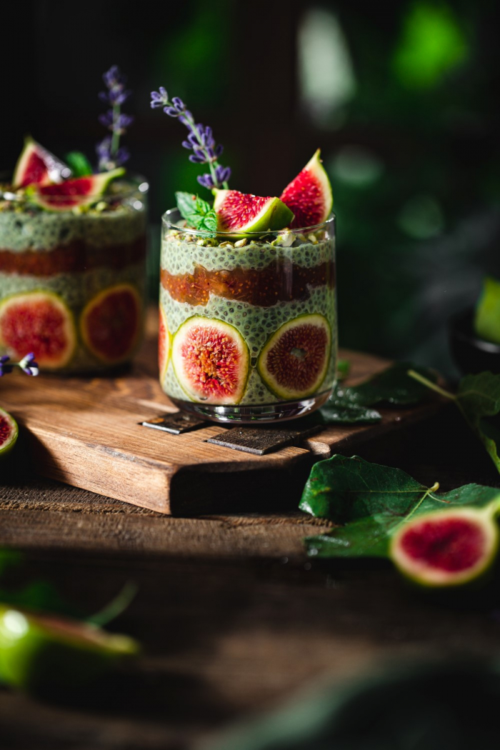 This deliciously rich white chocolate and matcha chia pudding with a homemade fig jam is such a wonderful dessert for late Summer.